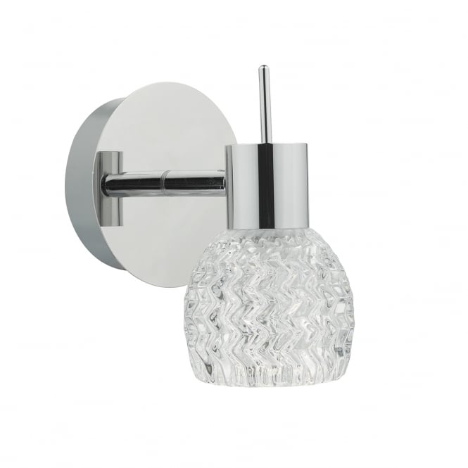 The Lighting Book ANIKA single wall light in polished chrome with cut glass style shade