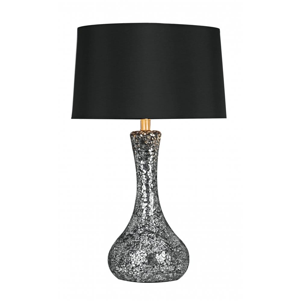 Small anna black and silver mosaic table lamp with black shade for Silver mosaic floor lamp