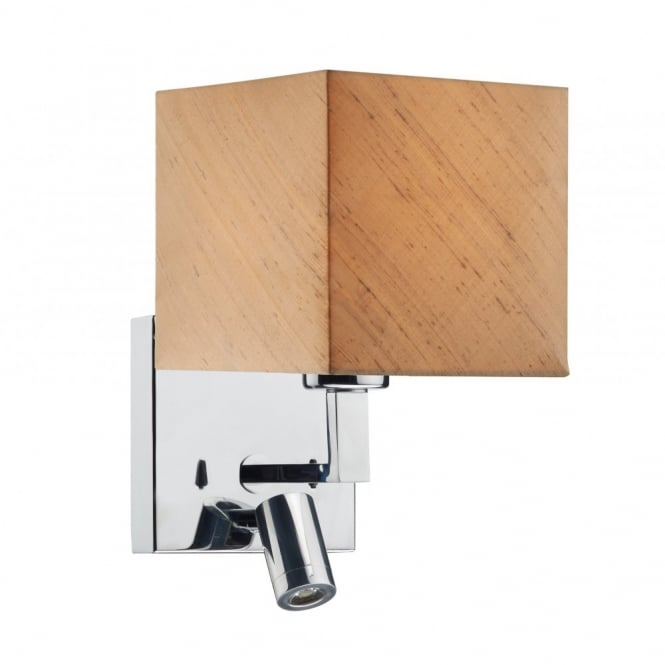 The Lighting Book ANVIL chrome wall light with LED task light and shade