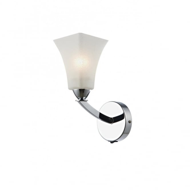 Single Chrome Wall Lights : Double Insulated Art Deco Wall Light, Chrome with Squared Opal Shade