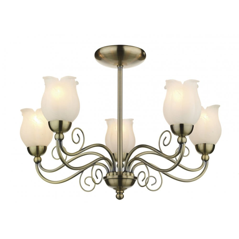 Cottage Style 5 Light Ceiling Light Antique Brass Marble Glass Shades