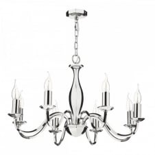 ATHOL Polished Nickel 8 Light Chandelier. An elegant candle style light fitting.
