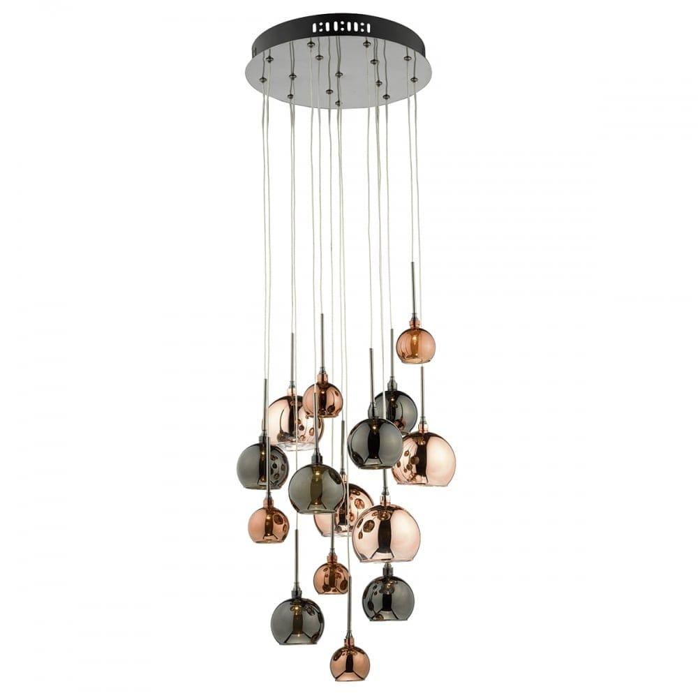 A Decorative 15 Light Cluster Pendant In Copper Shades