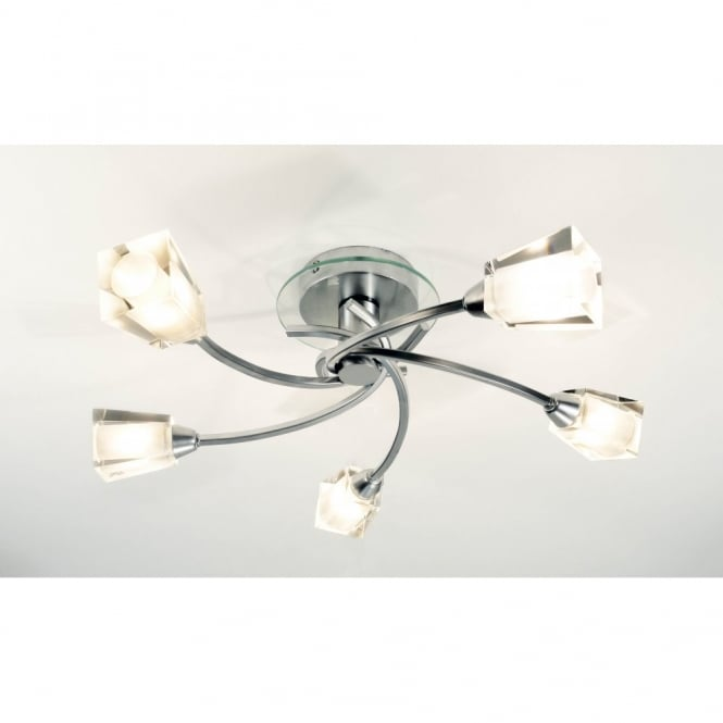 Austin Chrome Low Ceiling Light With Chunky Glass Shades - Energy efficient kitchen ceiling lighting