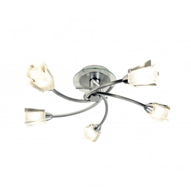 The Lighting Book AUSTIN chrome low ceiling light with 5 bulbs