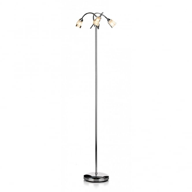 Austin modern chrome floor standing lamp with 3 glass shades for Lamp shades austin