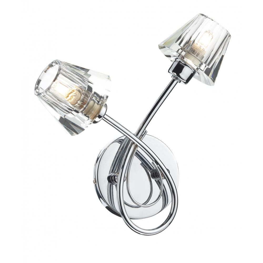 Double Wall Lights Chrome : Modern Chrome & Crystal Double Insulated Wall Light, Rocker Switched