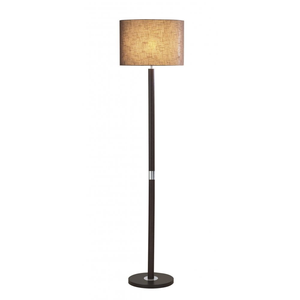 dark wooden floor standing lamp with chocolate linen shade. Black Bedroom Furniture Sets. Home Design Ideas