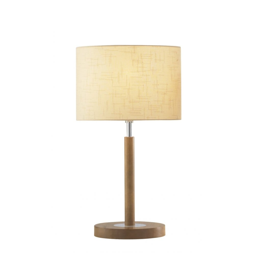 Light wooden table lamp with cream shade elegant classic for Lamp wooden