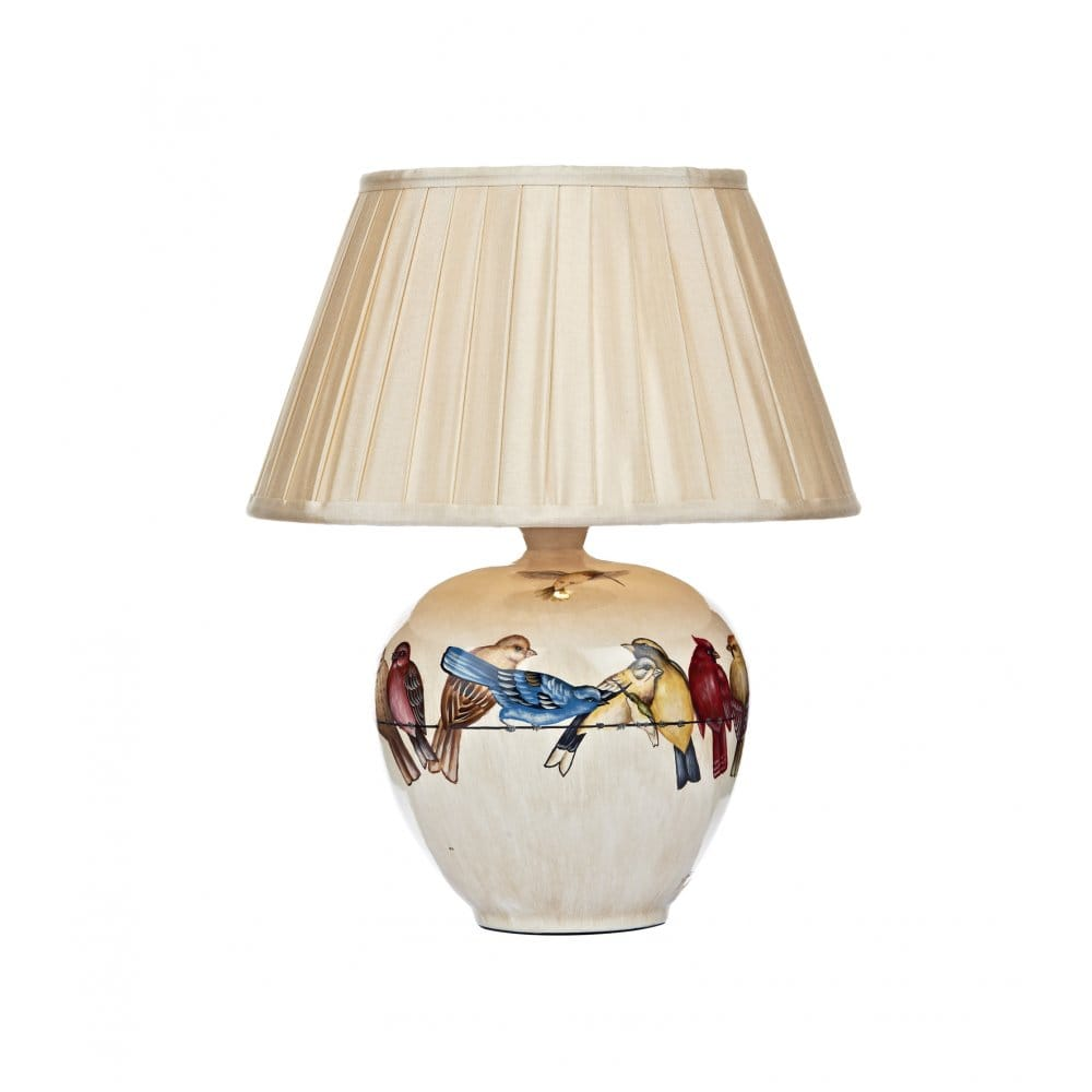 Cream ceramic base table lamp with bird pattern cream shade for Table ceramique