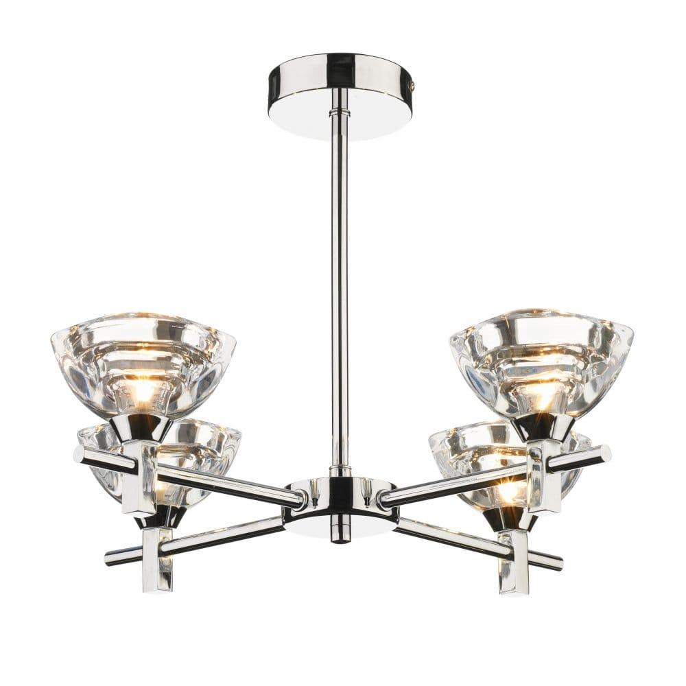 Modern Semi-Flush Ceiling Light Fitting, Clear Sculptured