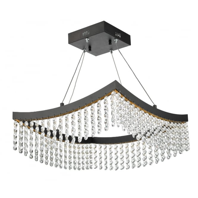 The Lighting Book AZALEA modern squared LED ceiling pendant in grey with crystal droplets
