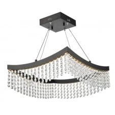 AZALEA modern squared LED ceiling pendant in grey with crystal droplets