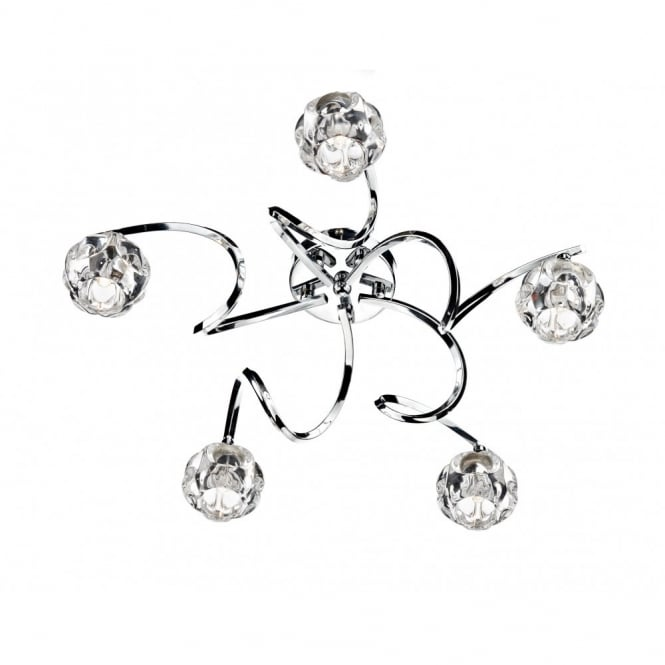 BABYLON 5 light semi flush ceiling light in polished chrome