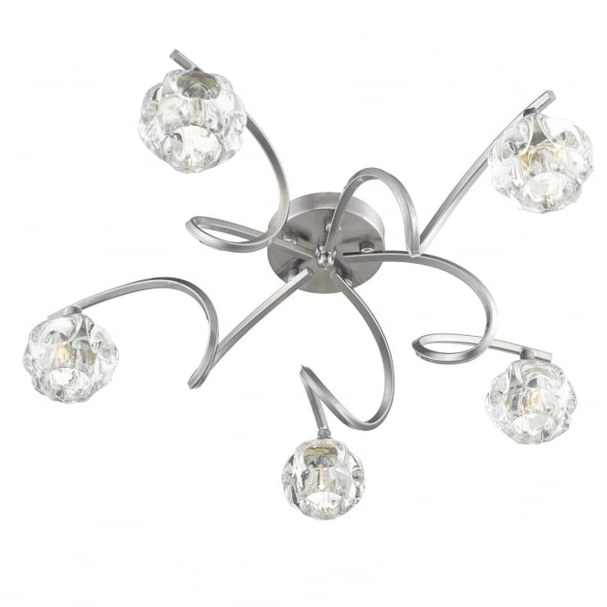 BABYLON 5 light semi flush ceiling light in satin chrome