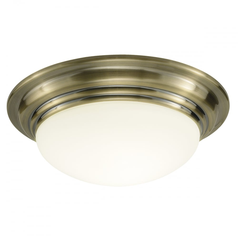 Ceiling Lights Company : Large barclay antique brass circular flush bathroom
