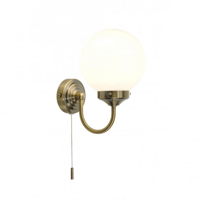 BARCLAY traditional antique brass bathroom wall light