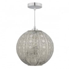 BAZAR easy fit pendant shade in antique silver with filigree cut out pattern