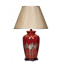 BERTHA red ceramic base table lamp & taupe shade