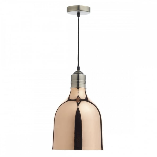The Lighting Book BILBAO copper ceiling pendant with white inner and black braided cable