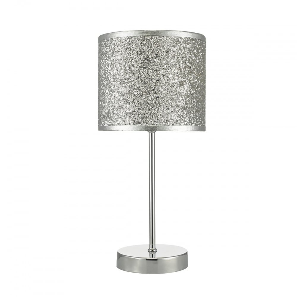 Polished chrome touch lamp with silver glitter shade for Silver glitter floor lamp