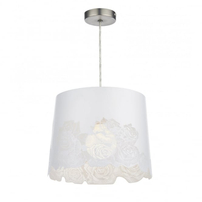 The Lighting Book BLOOM non electric white rose patterned shade
