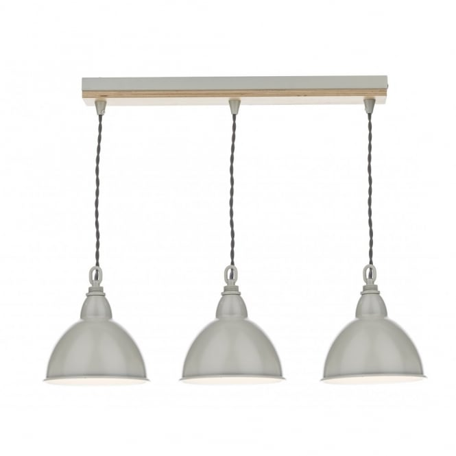 The Lighting Book BLYTON wooden & cream coloured metal shade 3 light bar pendant
