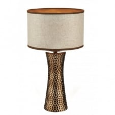 BOKARA hammered bronze table lamp with shade