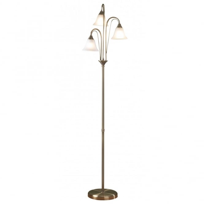 Traditional boston antique brass floor lamp with 3 glass for Antique brass spiral floor lamp