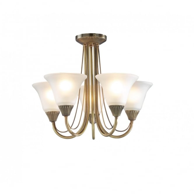 BOSTON antique brass light for low ceilings