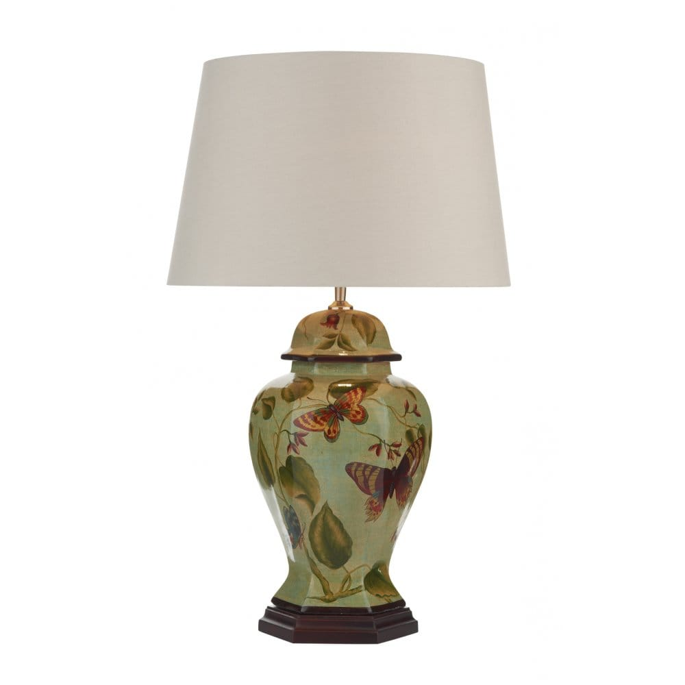 contemporary pale green ceramic table lamp with butterfly. Black Bedroom Furniture Sets. Home Design Ideas