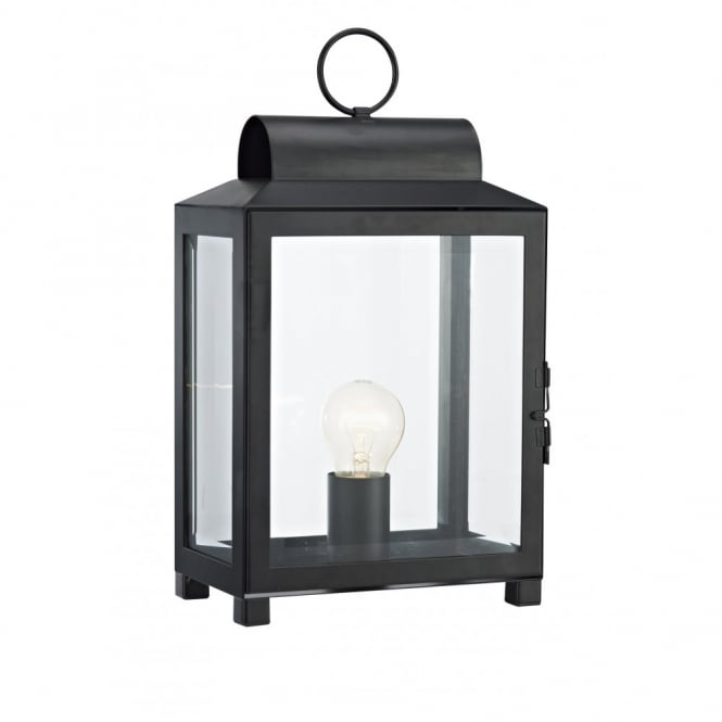 Traditional lantern style table lamp in black finish double insulated box traditional metal table lamp black mozeypictures Gallery