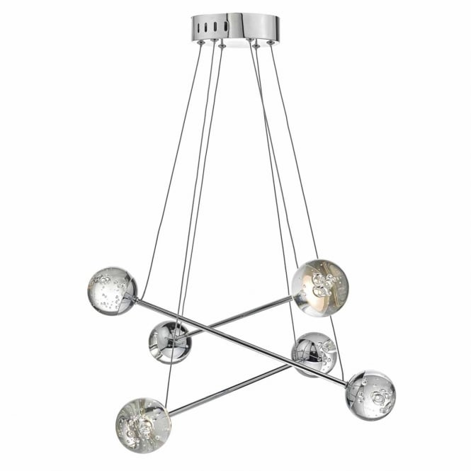 BUBBLES 6 light LED ceiling pendant in chrome with bubble glass