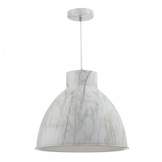 The Lighting Book BUFFALO Metal Pendant Light Fitting Finished in Cararra Marble effect.
