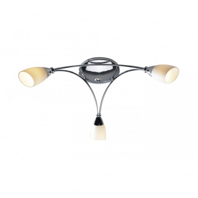 The Lighting Book BUREAU 3 arm chrome ceiling light for low ceilings