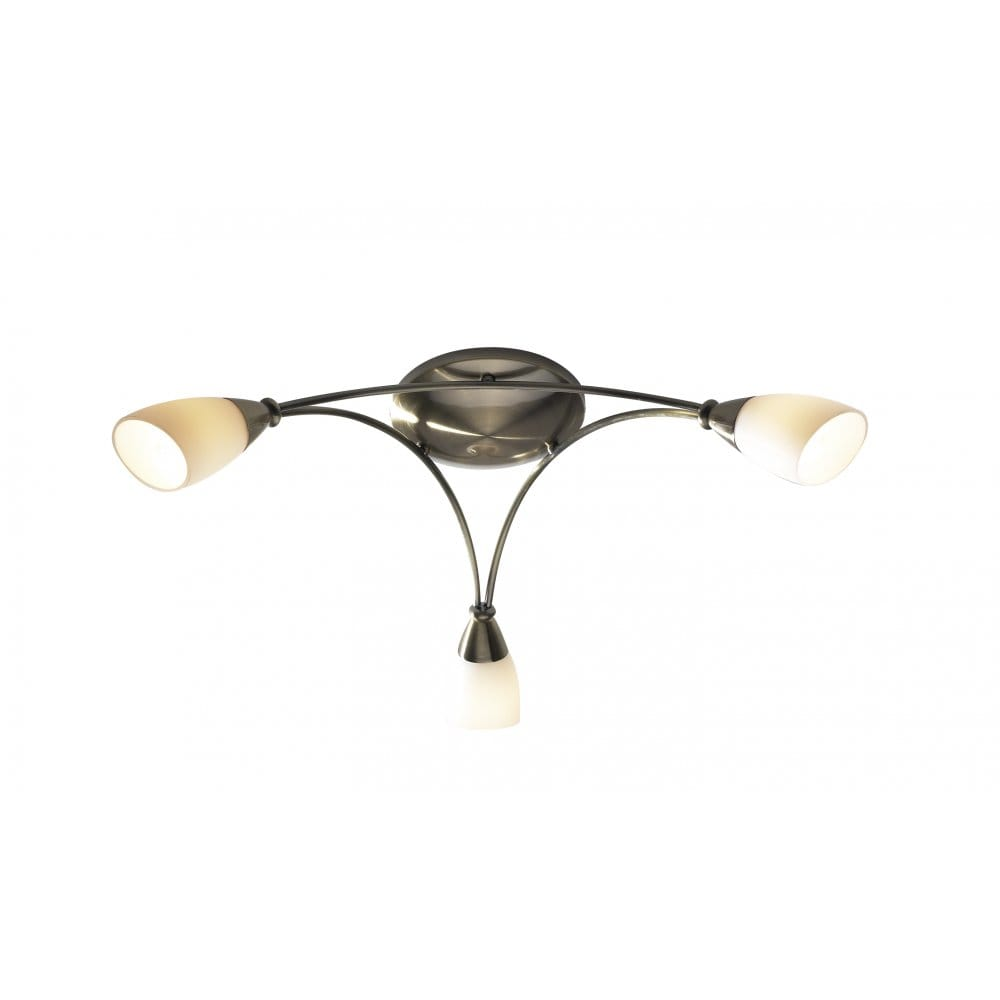 Vintage Brass Track Lighting: 3 Light Antique Brass Low Ceiling Light With Opal Glass Shades