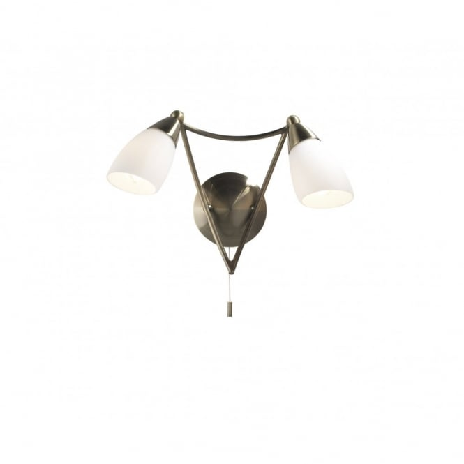 The Lighting Book BUREAU twin wall light antique brass with opal glass shades