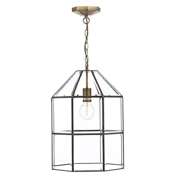 Modern Hall Lantern Glass Panel Pendant Light Fitting In