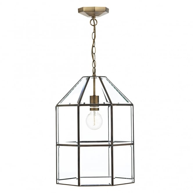 CACHETTE Pendant Light fitting. A splendid glass paneled antique brass lantern. Double insulated.