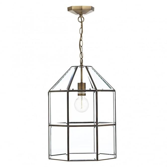 sc 1 st  The Lighting Company & Modern hall lantern glass panel pendant light fitting in antique brass azcodes.com