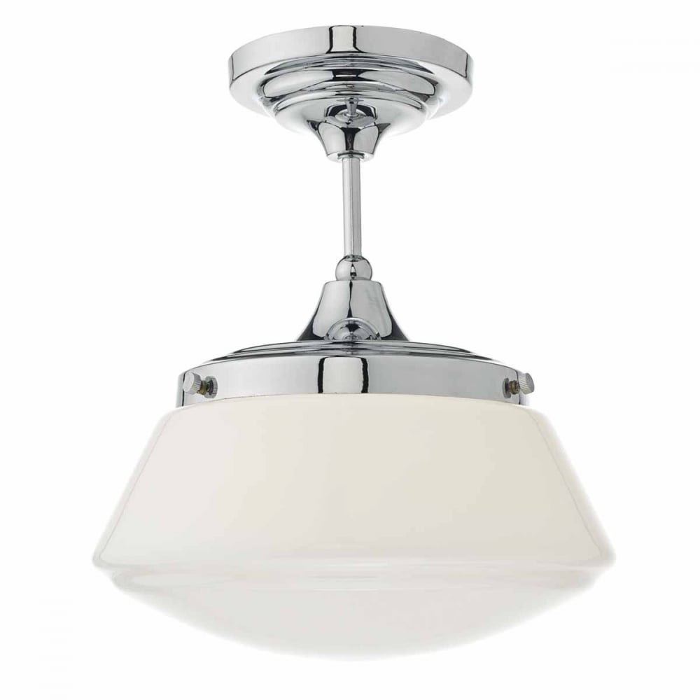 modern classic chrome bathroom ceiling light with opal glass