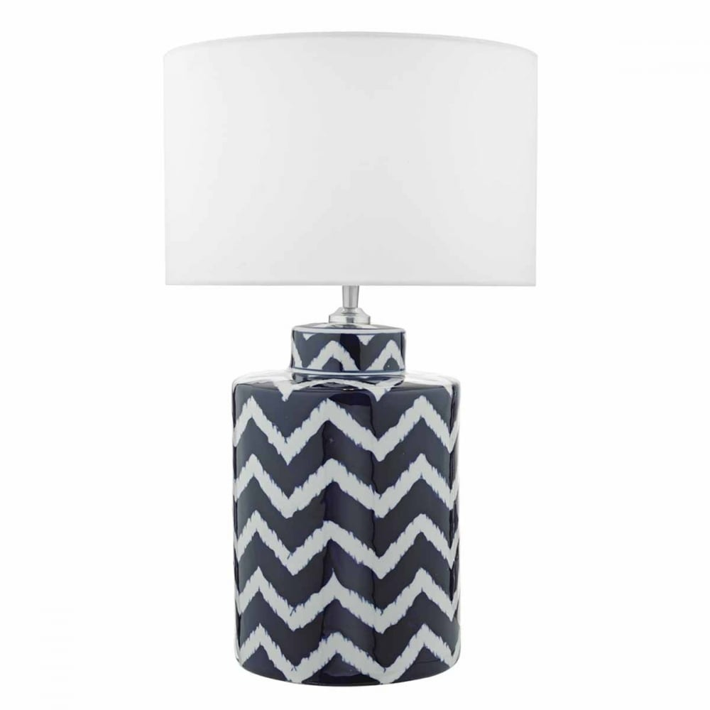 Ceramic table lamp base with zig zag pattern ceramic blue and white zig zag table lamp base aloadofball Image collections