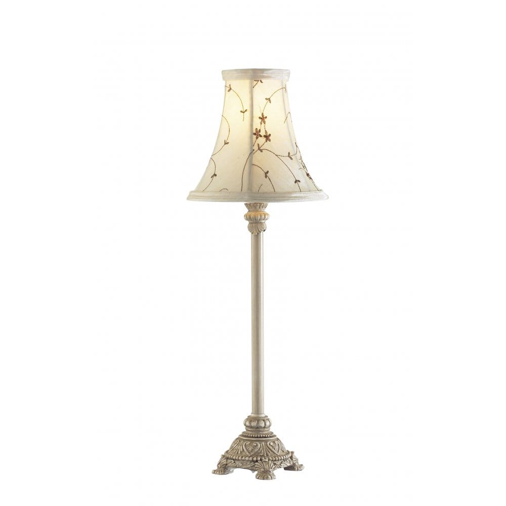 Small Antique Cream Table Lamp For Using As Bedside Table