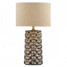 CAYENNE copper indented table lamp with natural linen shade