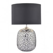 CAZANOVE decorative silver pellet design table lamp with shade