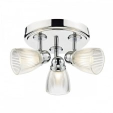 CEDRIC Bathroom Ceiling Light fitting, Polished Nickel and Ribbed Glass. IP44 Bathroom Safe Lighting.