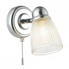 CEDRIC Bathroom Wall Light in Polished Nickel with ribbed outer glass and switched. IP44 rated for bathroom safe bathroom use.