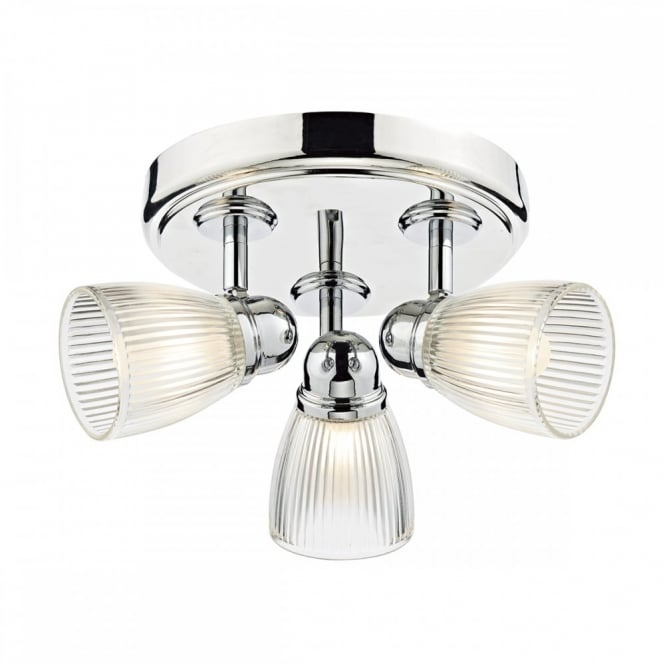 The Lighting Book CEDRIC polished chrome 3 light bathroom ceiling light with ribbed glass shades