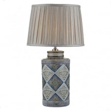 Blue and Brown ceramic lamp Moroccan painted effect