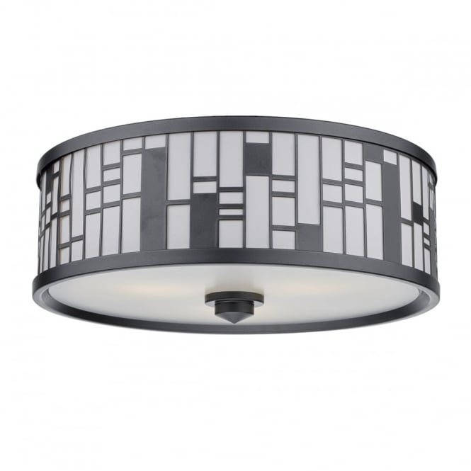 The Lighting Book CEROS round semi flush ceiling light in pewter with geometric pattern